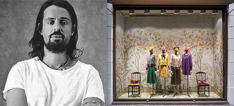 Portret Alessandro Michele i witryna Gucci w Paryżu