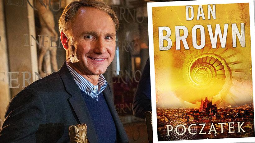"""Portret Dana Browna i okładka książki """"Początek"""""""