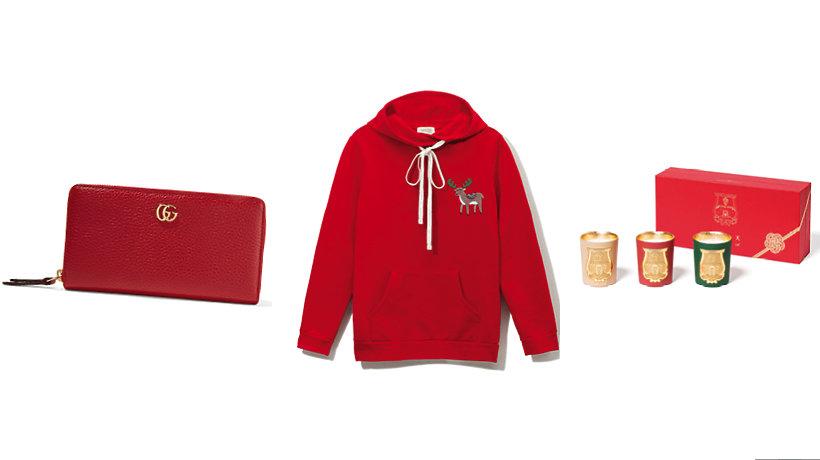 Prezenty dla niej. Od lewej: portfel Gucci, bluza Łukasz Jemioł, zestaw świeczek Cire Trudon