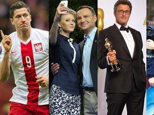Robert Lewandowski cieszy się z gola, Andrzej Duda, Kinga Duda robią zdjęcie, Paweł Pawlikowski z Oscarem dla Idy