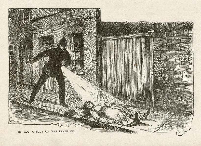 Rycina przedstawiająca policjanta nad ciałem Mary Ann Nicols