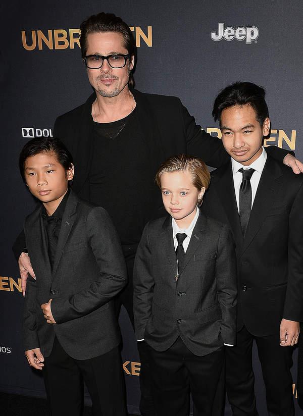 Shiloh Jolie-Pitt, Brad Pitt, Maddox Jolie-Pitt, Pax Jolie-Pitt, 2014
