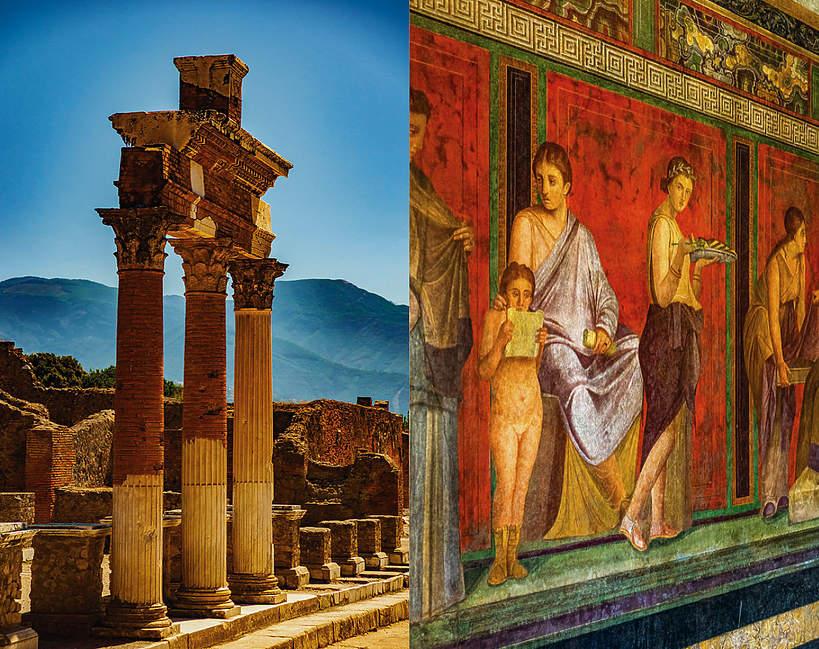 Składka - trzy kolumny i malowidło w Pompejach