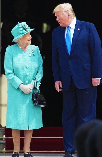Spotkanie Donalda Trumpa z królową Elżbietą II, Donald Trump, królowa Elżbieta II, Melania Trump
