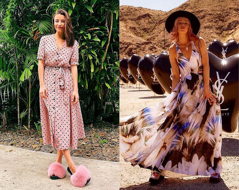 6832079295 Sukienki midi z sieciówek w stylu gwiazd  shopping grochy