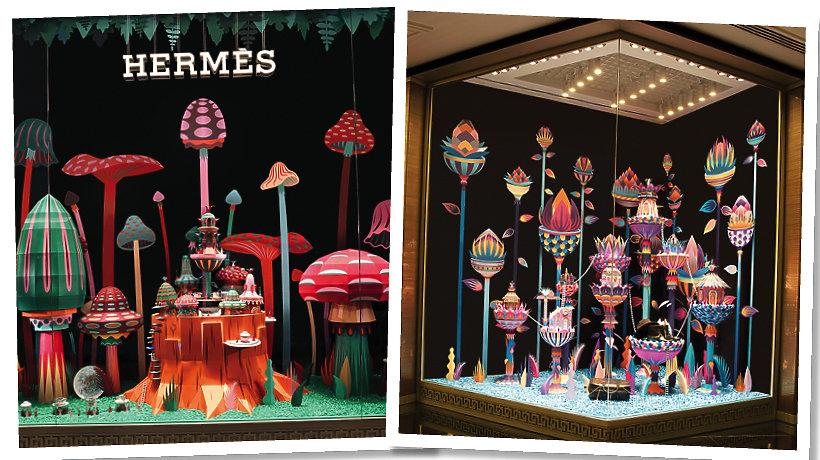 Świąteczna witryna Hermes w Dubaju