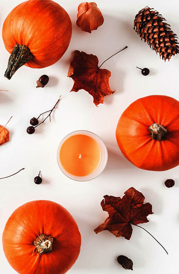 świece w domu, dynie, jesień