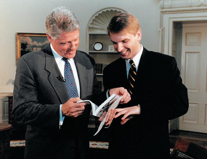 Tomasz Lis i Bill Clinton, czerwiec 1994