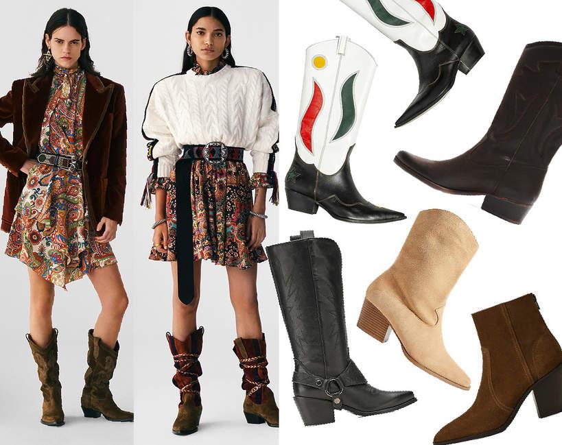 Trend na jesien i zime 2021 2022 kowbojki najmodniejsze buty wybiegi pokazy mody shoping sklepy wybor