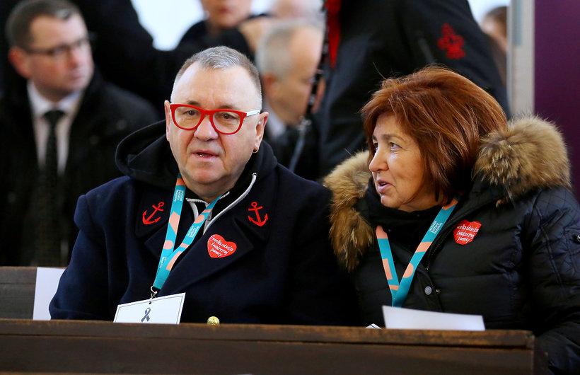 Uczestnicy pogrzebu Pawła Adamowicza, Jerzy Owsiak z żoną Lidią
