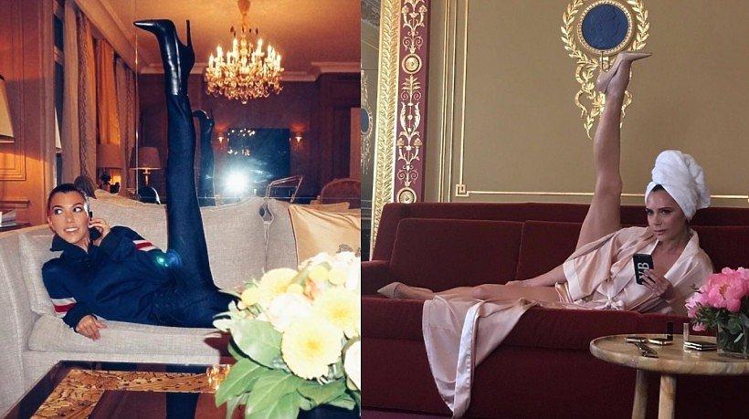 Victoria Beckham i Koutney Kardashian z nogami w górze