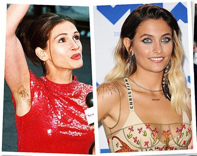 Włosy pod pachami: Julia Roberts, Paris Jackson, Miley Cyrus, Madonna
