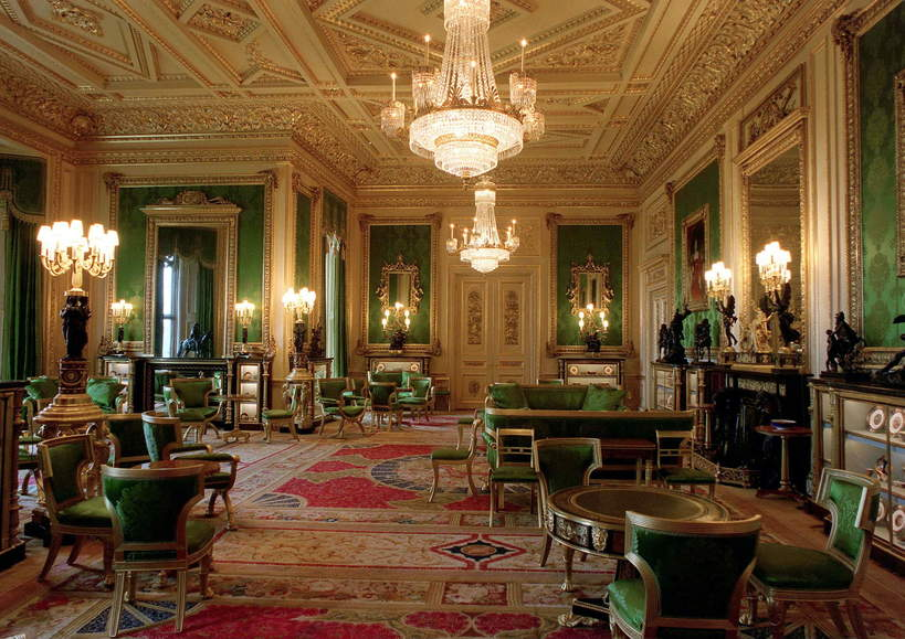 Zamek Windsor wnętrza: The Green Drawing Room