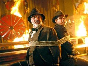 zdjęcie z filmu Indiana Jones i Ostatnia krucjata. Harrison Ford, Sean Connery