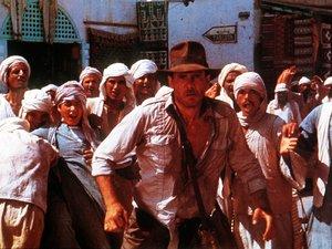 zdjęcie z filmu Poszukiwacze zaginionej Arki. Harrison Ford