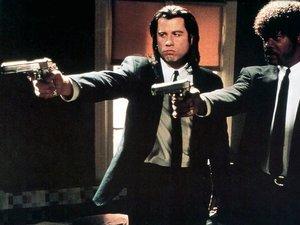 zdjęcie z filmu Pulp Fiction. John Travolta, Samuel L. Jackson