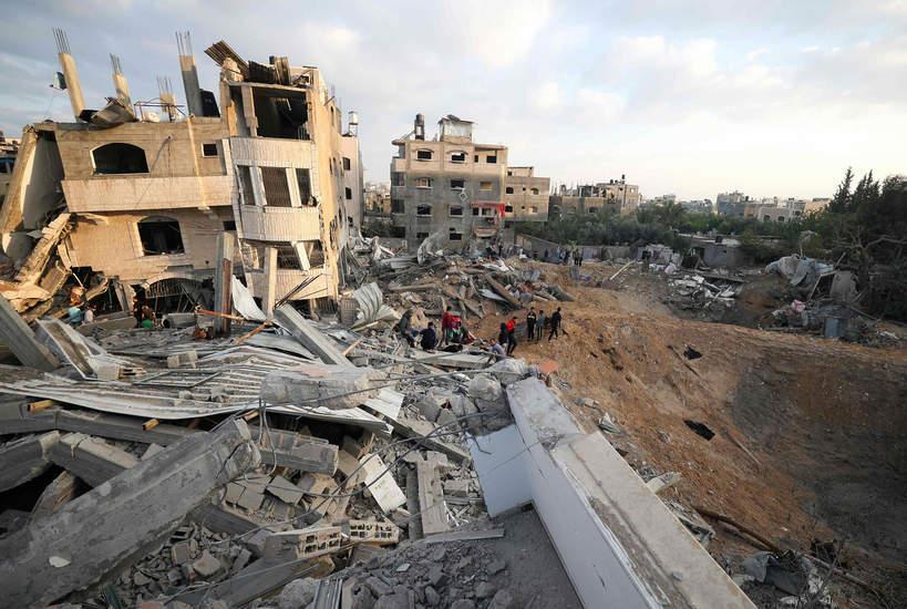 Zniszczenia w mieście Beit Lahia w północnej Strefie Gazy 13 maja 2021 r.