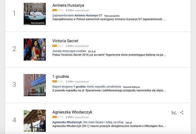 Agnieszka Włodarczyk, Google Trends