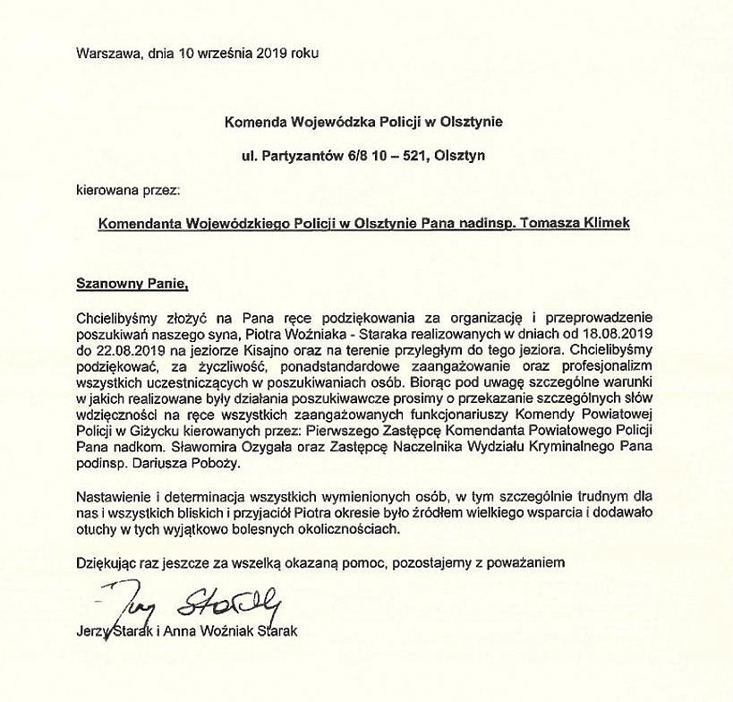 Anna i Woźniak Starakowie, podziękowania dla policji Olsztyn
