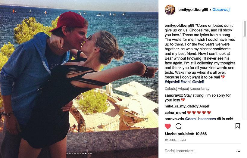 Avicii nie żyje. Wpis jego byłej dziewczyny na Instagramie