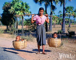 birmańska mama z dziećmi