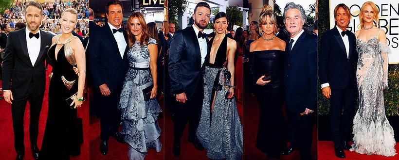Blake Lively, Ryan Reynolds, John Travolta, Justin Timberlake i Jessica Biel, Kurt Russell, Nicole Kidman, Złote Globy