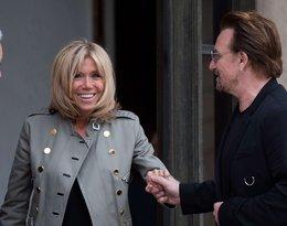 Brigitte Macron, Bono, Brigitte Macron przyjmuje Bono w Paryżu