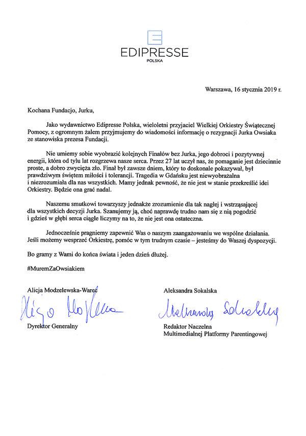 Edipresse Polska #MuremZaOwsiakiem