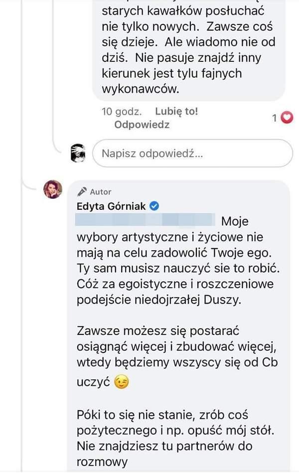 Edyta Górniak odpowiedziała na złośliwy komentarz fana