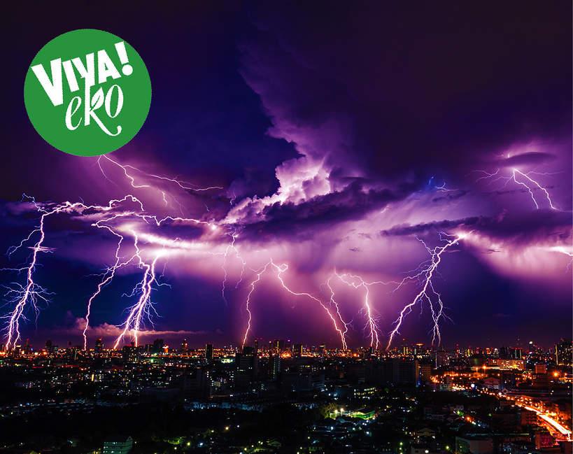 Eko, ekologia, burza, pioruny, błyskawice, niebo, miasto