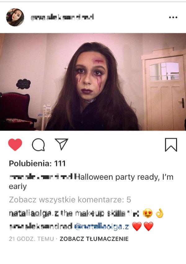 Ewa Dubieniecka, córka Marty Kaczyńskiej, przebrała się na Halloween wbrew woli matki