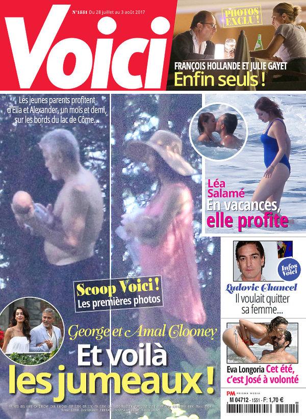 George Clooney i Amal Clooney z dziećmi Alexandrem i Ellą w magazynie Voici