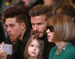 Harper Beckham z ojcem i Anną Wintour