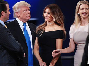 Hillary Clinton i Donald Trump z rodzinami podczas debaty