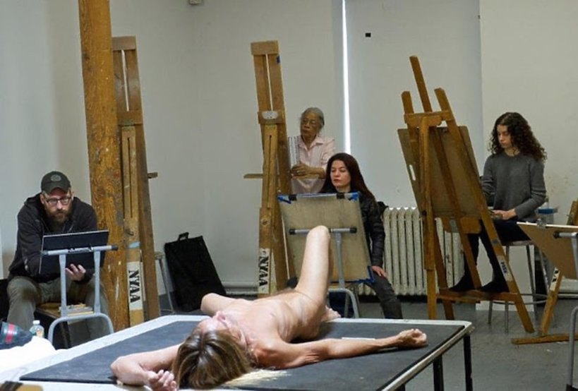 Iggy Pop Life Class. Pictured: (l-r) Jeremy Day, Patricia Hill, Jeannette Farrow, Danielle Rubin; Laying: Iggy Pop