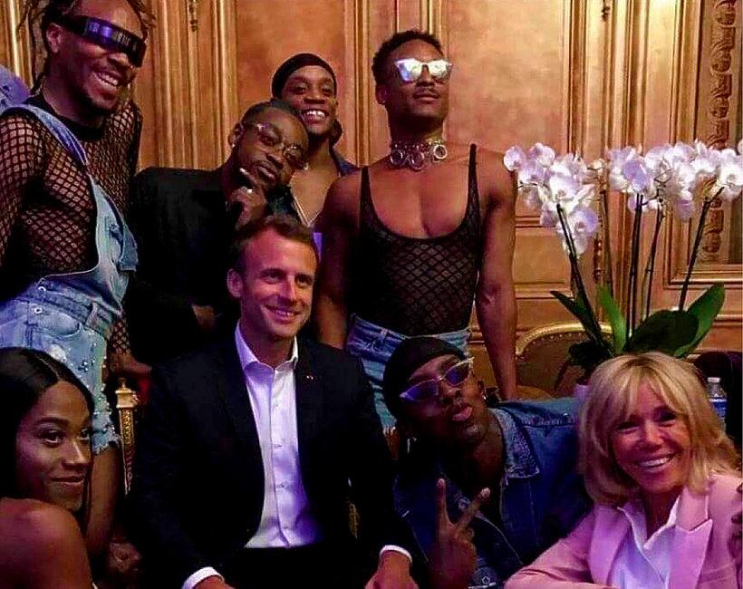 Impreza transseksualistów z Brigitte i Emmanuelem Macronami w Pałacu Elizejskim