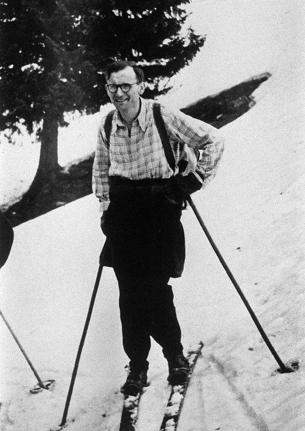 Karol Wojtyła, papież Jan Paweł II na nartach w górach, lata 50.