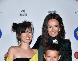 Kasia Kowalska z córką Olą i synem Ignacym na festiwalu w Sopocie w 2018 roku