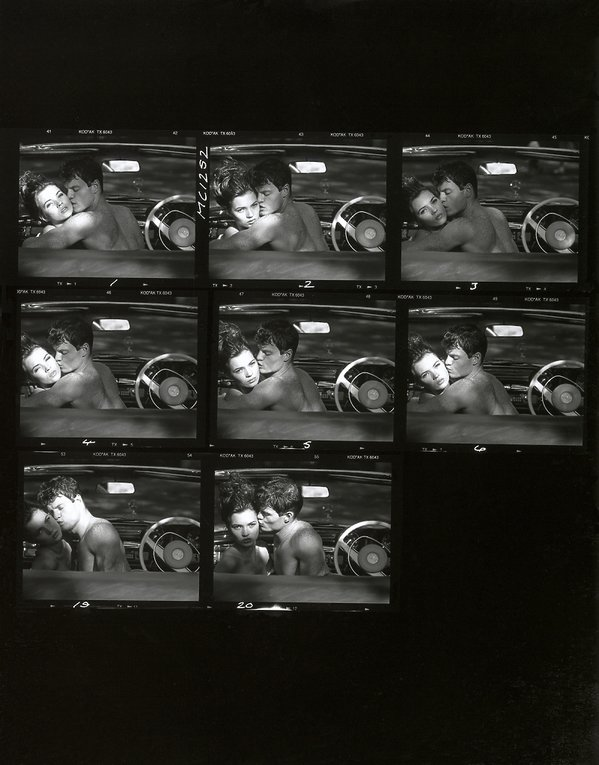 Kate Moss photographed in London on the 6th of May 1988, in David Hockney's Mercedes Benz 280 Se Cabriolet - Contact Sheet