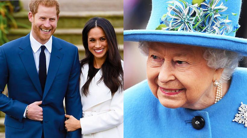 królowa Elżbieta II, książę Harry, księżna Meghan