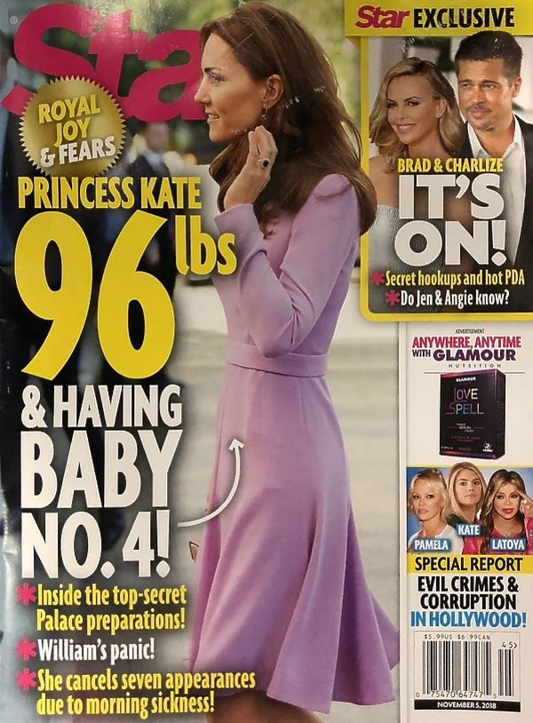 Księżna Kate jest w czwartej ciąży? Okładka Star magazine