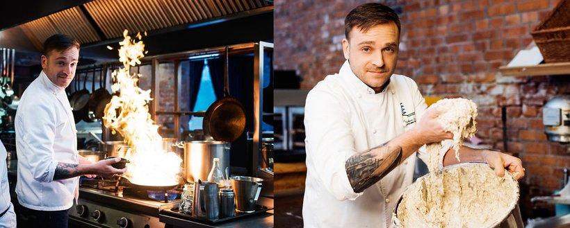 Mateusz Gessler w kuchni w restauracji