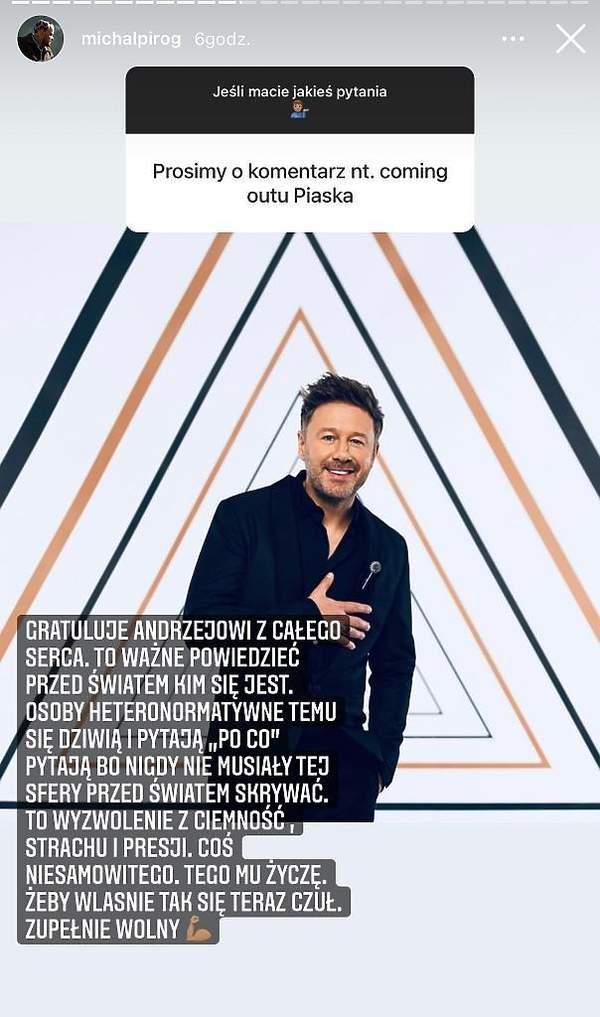 Michał Piróg skomentował coming out Andrzeja Piasecznego Piaska