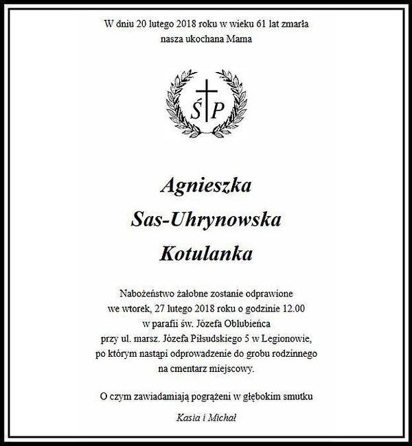 Nekrolog Agnieszki Kotulanki