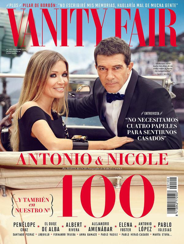 okładka Vanity Fair z Antonio Banderasem i Nicole Kimpel