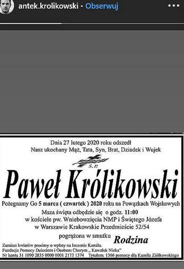 Paweł Królikowski, Antoni Królikowski, nekrolog