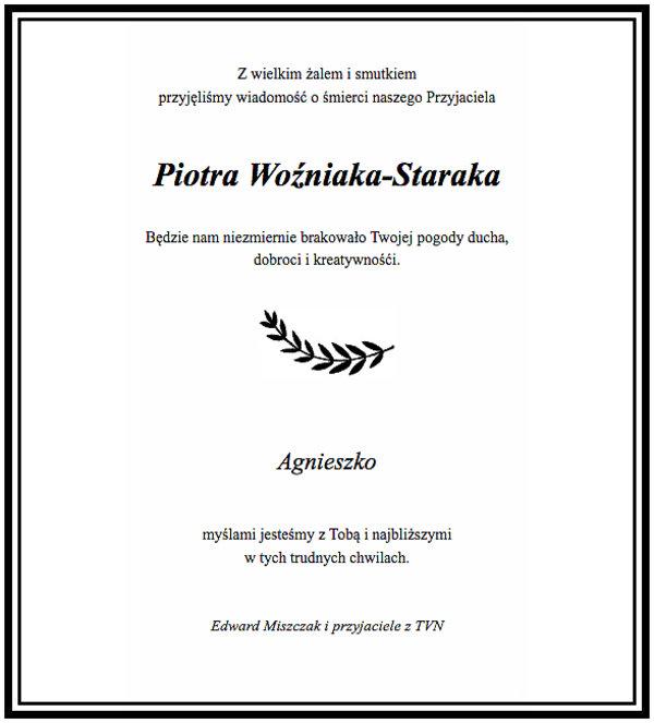 Piotr Woźniak-Starak, nekrolog