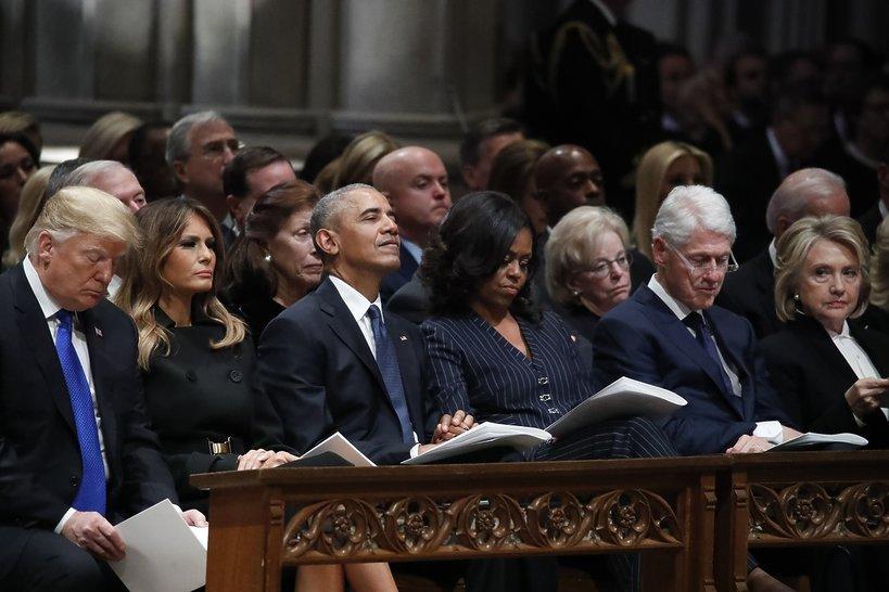 Pogrzeb George'a W. Busha Seniora: Donald Trump, Melania Trump, Barack Obama, Michelle Obama, Bill Clinton, Hillary Clinton