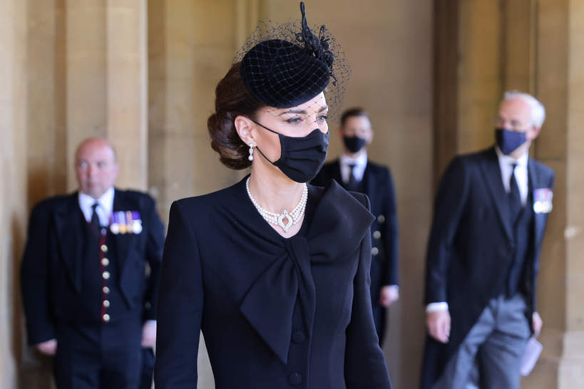 Pogrzeb księcia Filipa, 17.04.2021 rok, rodzina królewska w kondukcie żałobnym, księżna Kate