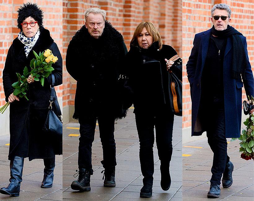 Pogrzeb Zuzanny Łapickiej-Olbrychskiej: Paweł Pawlikowski, Małgorzata Potocka, Daniel Olbrychski, Krystyna Demska-Olbrychska